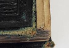 Coins en cuir du carnet de croquis. AVANT restauration