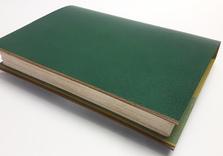 Liseuse en chagrin vert et ocre, papier japonais vert clair et doublures de chair pour les rabats intérieurs